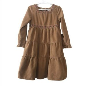 Gap Size 5 tan corduroy floral embroidered dress